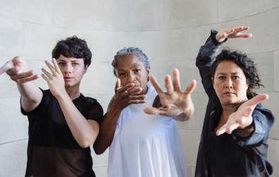 Pictured (L-R) Courtney King, Richelle Donigan, and Sue Li Jue in Sarah Bush Dance Project's Spirit and Bones; Photograph by Amal Bisharat